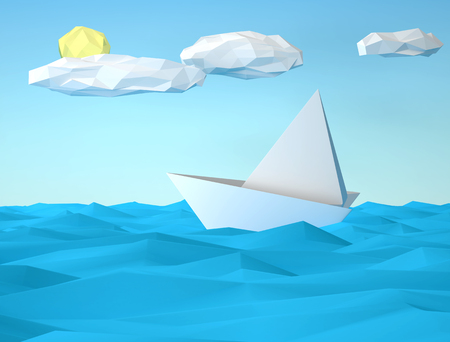 Polygonal paper seascape with white sailboat. 3D rendering