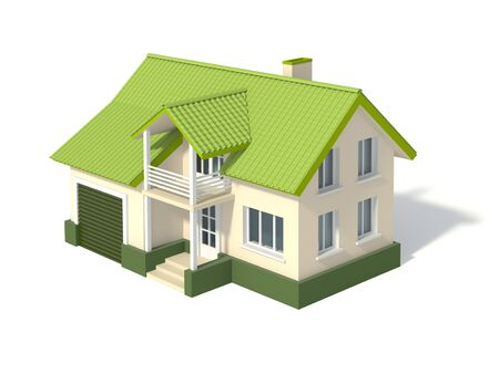 Two story house with a green roof and garage, isolated on white. 3D rendering with clipping path