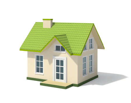 Small house with a green roof, isolated on white. 3D rendering with clipping path