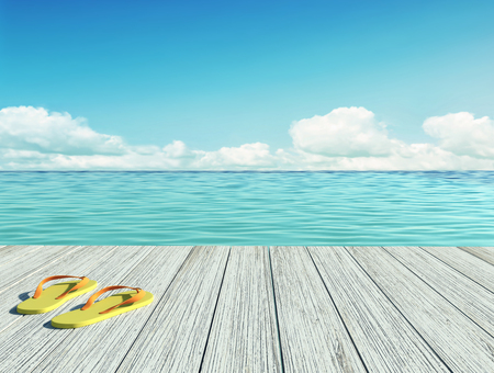 Yellow flip flops on a wooden floor by the seashore on sunny summer day. 3D rendering Stock Photo