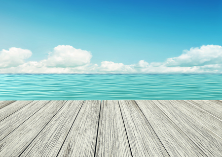 Wooden table, wooden floor by the seashore on sunny summer day. 3D rendering Stock Photo