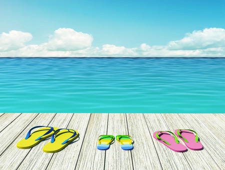 Flip-flops on wooden pier by the seashore on sunny summer day. Family vacation. 3D rendering Stock Photo
