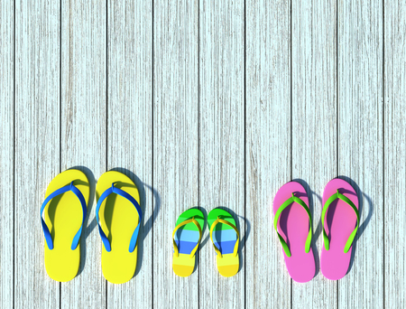Flip-flops on wooden pier in sunlight. Family vacation. 3D rendering