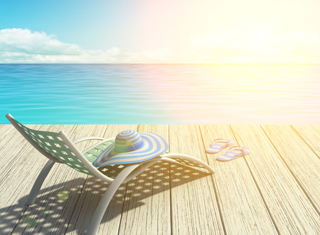 Summer holiday on the beach, halo effect. 3D rendering Stock Photo