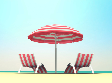Summer holiday on the beach with striped beach umbrella and beach chairs. 3D rendering