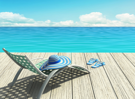 Summer holiday on the beach. 3D rendering