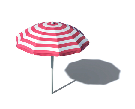 Striped beach umbrella isolated on white. 3D rendering with clipping path