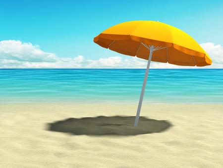 Tropical beach with orange umbrella. 3D rendering Stock Photo