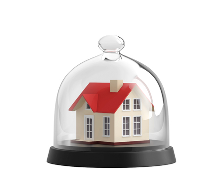 Home safety. House under glass bell jar isolated on white. 3D rendering with clipping path