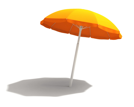 Orange beach umbrella isolated on white. 3D rendering with clipping path