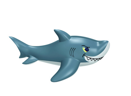 Inflatable shark isolated on white. 3D rendering with clipping path