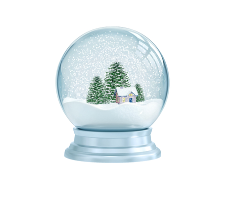 Snow globe with house and pine trees isolated on white. 3D rendering Stockfoto