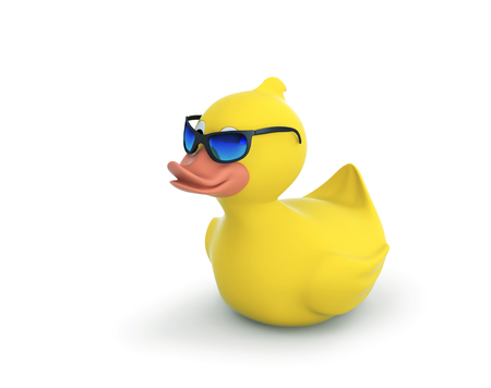 Rubber duck in sunglasses isolated on white. 3D rendering with clipping path Фото со стока
