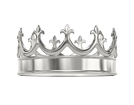 Platinum, silver crown isolated on white. 3D rendering with clipping path Stock Photo