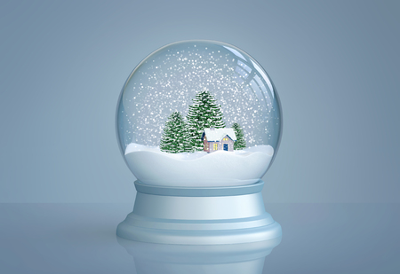 Snow globe with house and pine trees on blue background. 3D rendering 免版税图像 - 91098228
