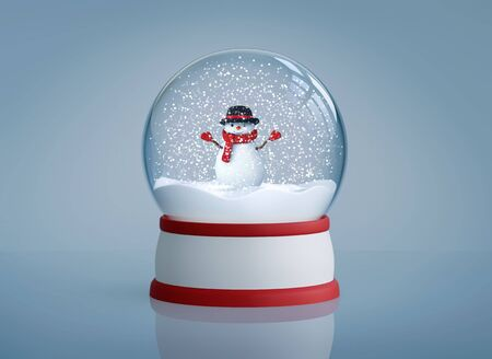 Snow globe with funny snowman in black hat with red wool scarf and mittens. 3D rendering