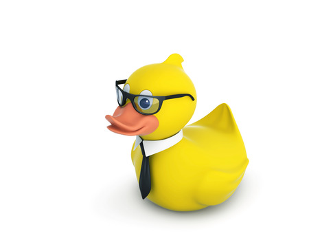 Business rubber duck in glasses with black tie isolated on white. 3D rendering with clipping path