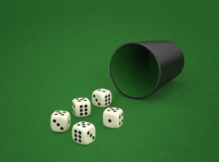 Dice game with dice cup on green table. Combination of dice - Four Of A Kind. 3D rendering