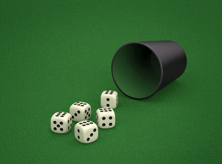 Dice game with dice cup on green table. Combination of dice - Poker. 3D rendering Stock Photo