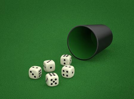 Jogo dos dados com o copo de dados na tabela verde. Combinação de dados - Chance, dois pares de dados. Renderização 3D