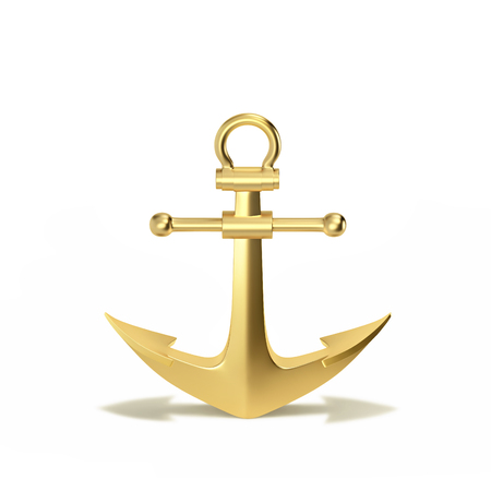 Golden anchor with shadow iin shape of arrows isolated on a white. 3D rendering with clipping path Stock Photo