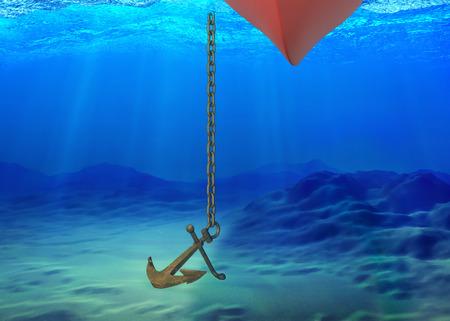 Podwodne tło ze statkiem i kotwicą opuszczoną na dno. renderowanie 3D
