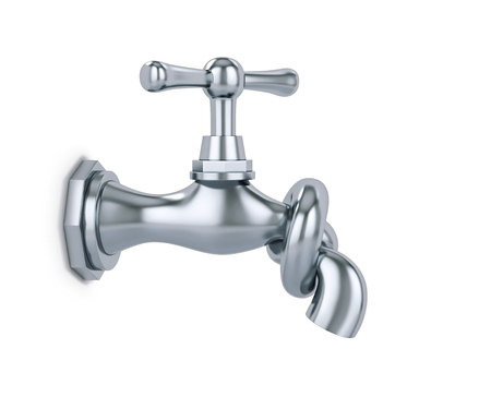 Water tap tied in knot isolated on white, saving water concept. 3D rendering with clipping path