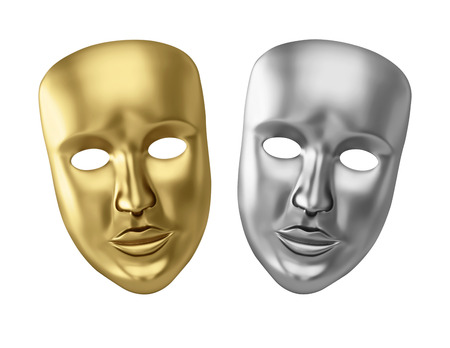 Golden and silver theatrical masks isolated on white. 3D rendering