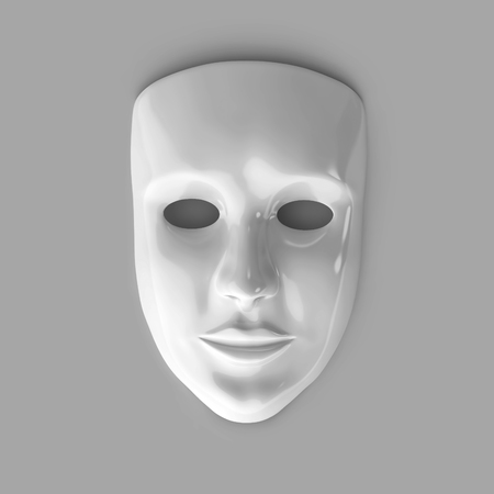 White glossy theater mask isolated on gray background.