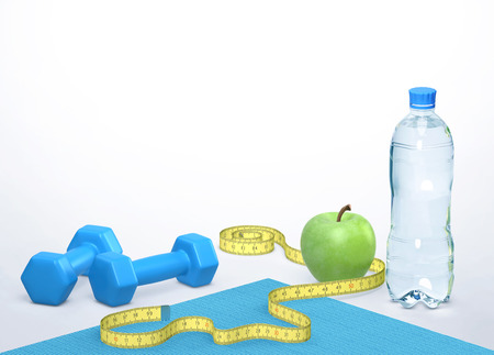 Losing weight and healthy lifestyle concept. Dumbbells, measuring tape, green apple and a bottle of water