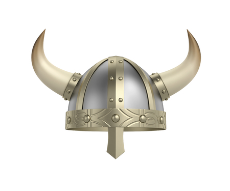 Viking helmet with horns isolated on white. 3D rendering with clipping path