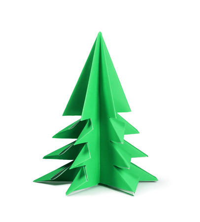 Paper Christmas tree isolated on white Stock Photo