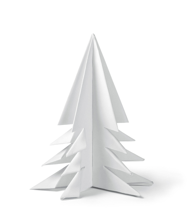 Origami paper Christmas tree isolated on white, clipping path included Фото со стока