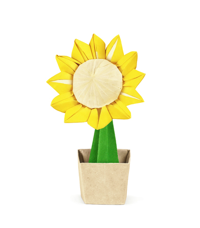 Paper sunflower in pot isolated on white. Clipping path included