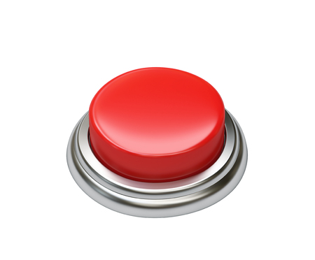 Red button isolated on white background. Фото со стока