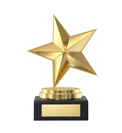 Golden star trophy award isolated on white.
