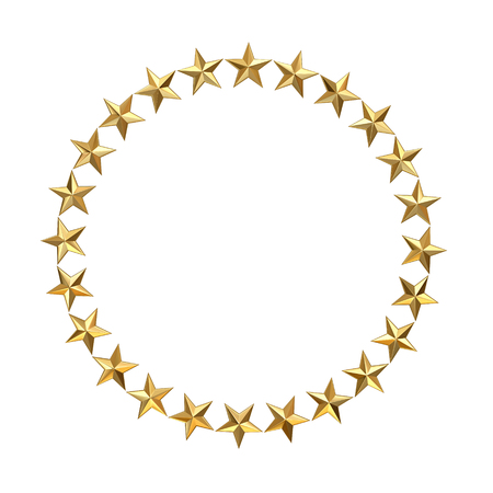 Golden stars in circle isolated on white. Фото со стока
