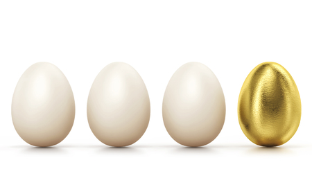 One golden egg among usual chicken eggs in row isolated on white. Concept of success. Фото со стока