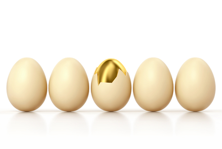 Golden egg with broken shell among usual chicken eggs in row isolated on white.  3D render
