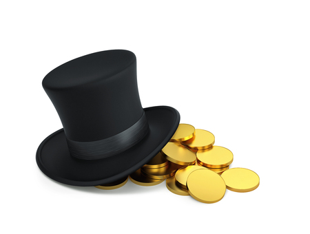 Black top hat with golden coins isolated on white. 3D render Stock Photo