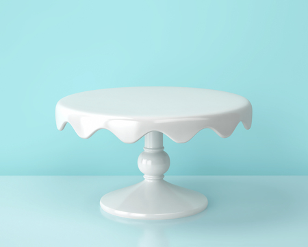White porcelain cake stand on blue backgroung.  3D render