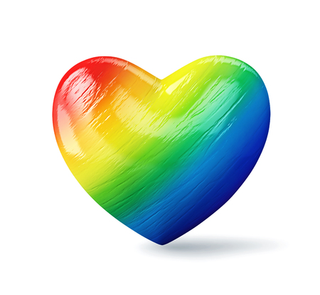 Rainbow heart isolated on a white background.  3D render Фото со стока