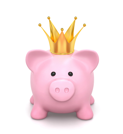 Pink piggy bank with crown isolated on white.  3D render Фото со стока
