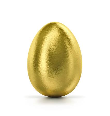 Golden egg isolated on white.  3D render Stock Photo