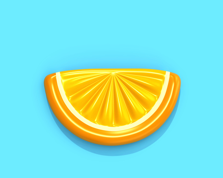 Inflatable orange slice isolated on blue background, top view. 3D render