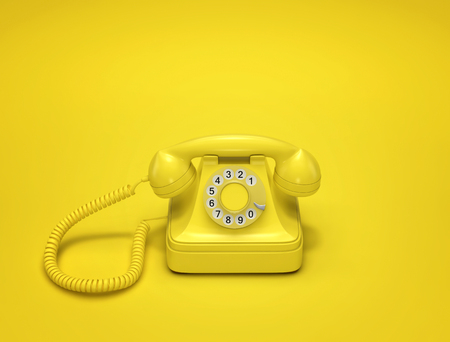 Yellow vintage phone on yellow background. 3D rendering