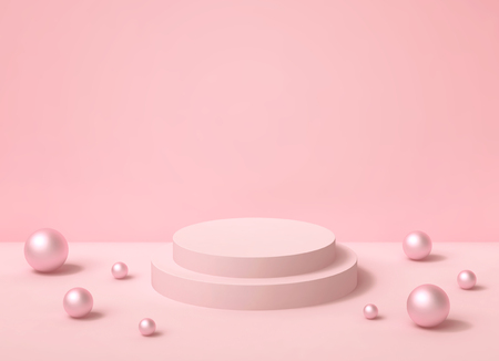 Abstract pastel pink background with round podium and pearls. 3D rendering Фото со стока