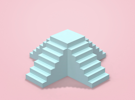 Blue stairs and blue podium on pink. Abstract minimal background, pastel colors. 3D rendering Фото со стока