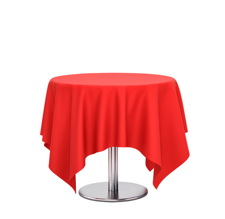 Round table with red tablecloth isolated on white. 3D rendering Фото со стока