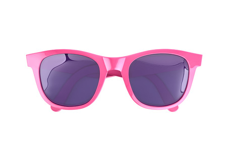 Pink sunglasses isolated on white, top view. 3D rendering